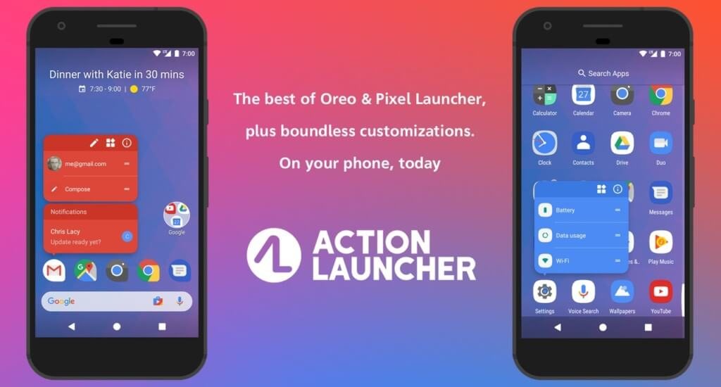 Action Launcher оптимизирует работу с домашним экраном