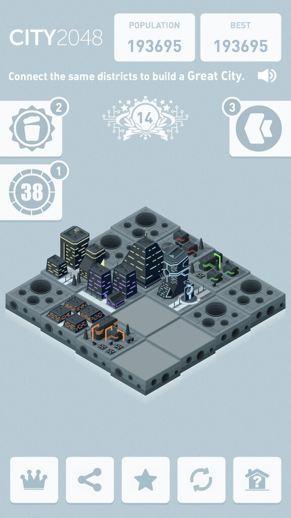 Механика игры City 2048