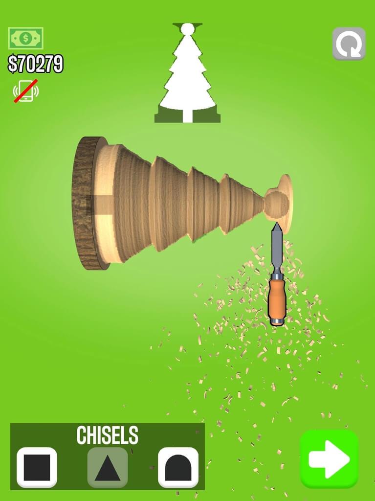 Игровой процесс в Woodturning на андроид