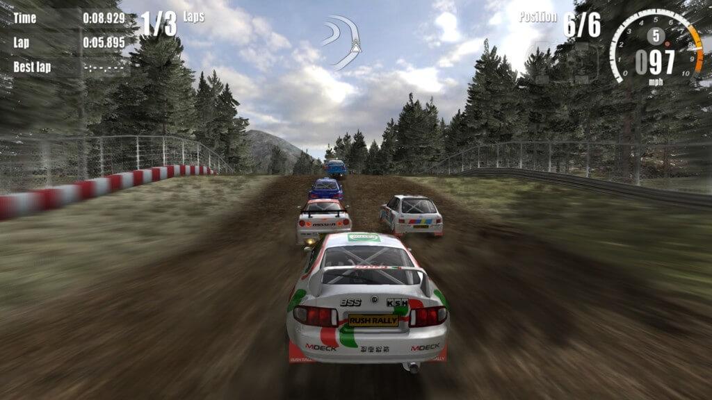 Механика игры Rush Rally 3 на андроид
