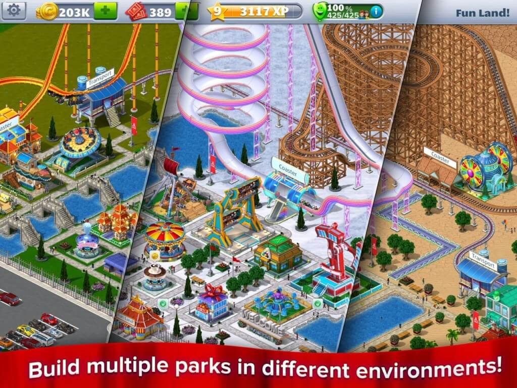 Механика RollerCoaster Tycoon 4 Mobile