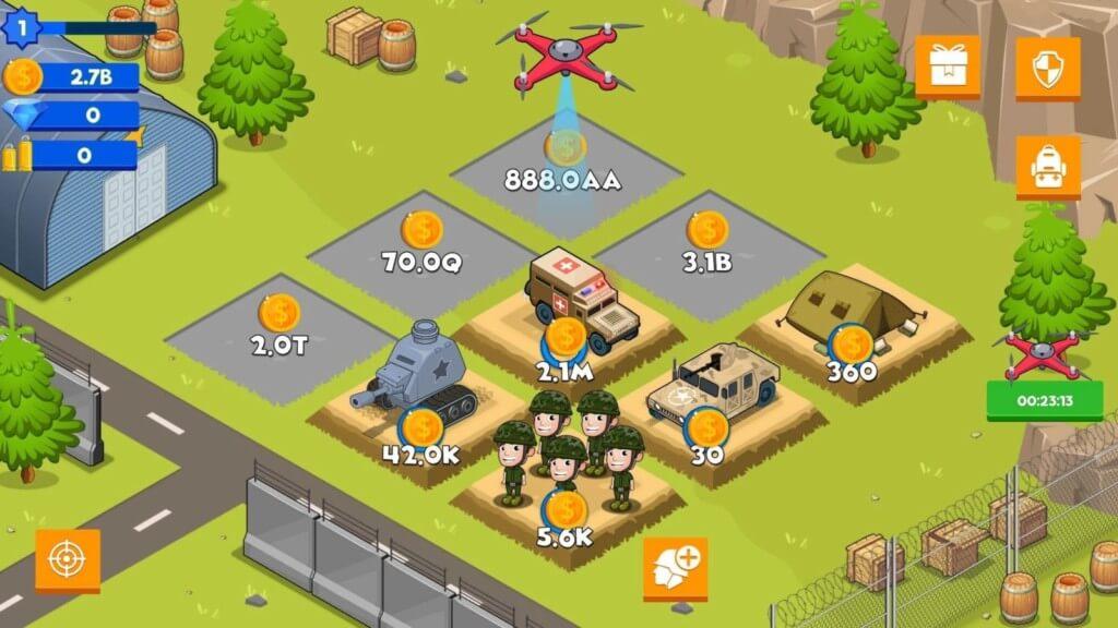Геймплей игры Idle Army Base