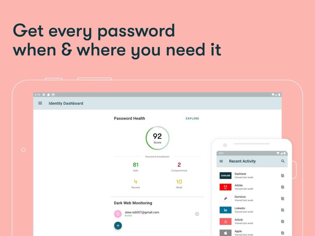 Плюсы Dashlane Password Manager