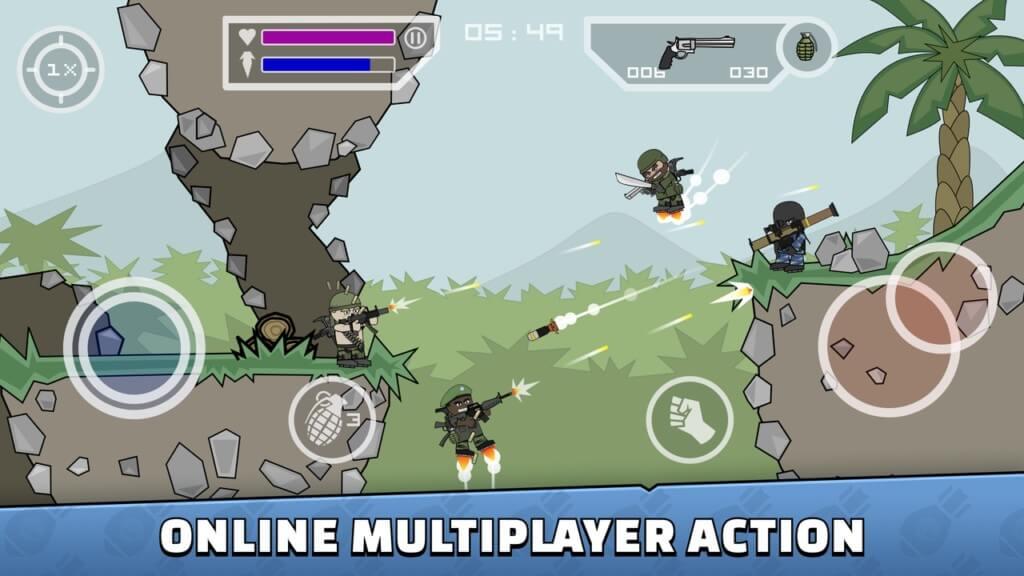 Игровой процесс в Mini Militia - Doodle Army 2