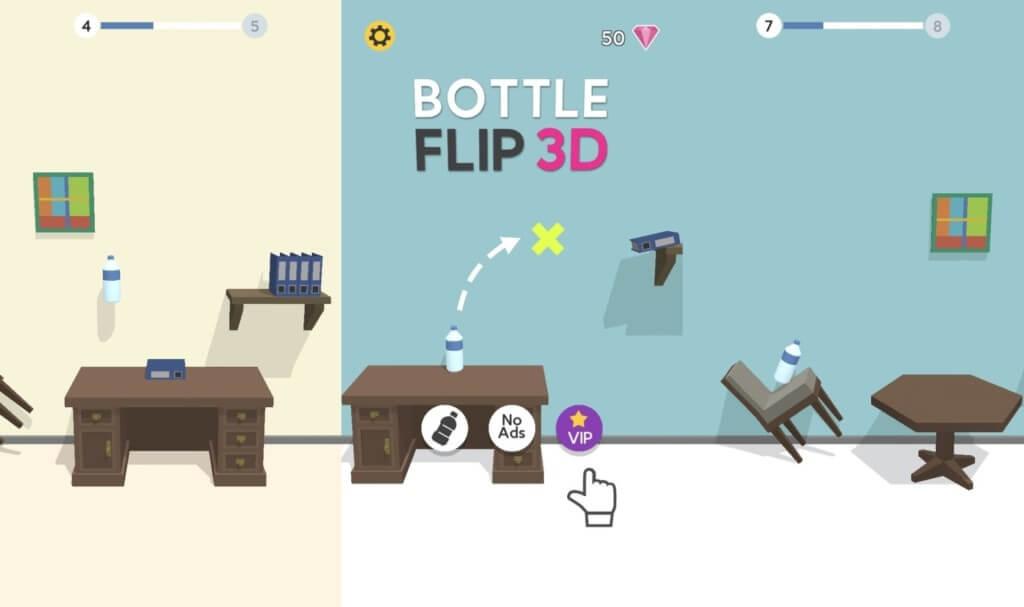 Механика в игре Bottle Flip 3D