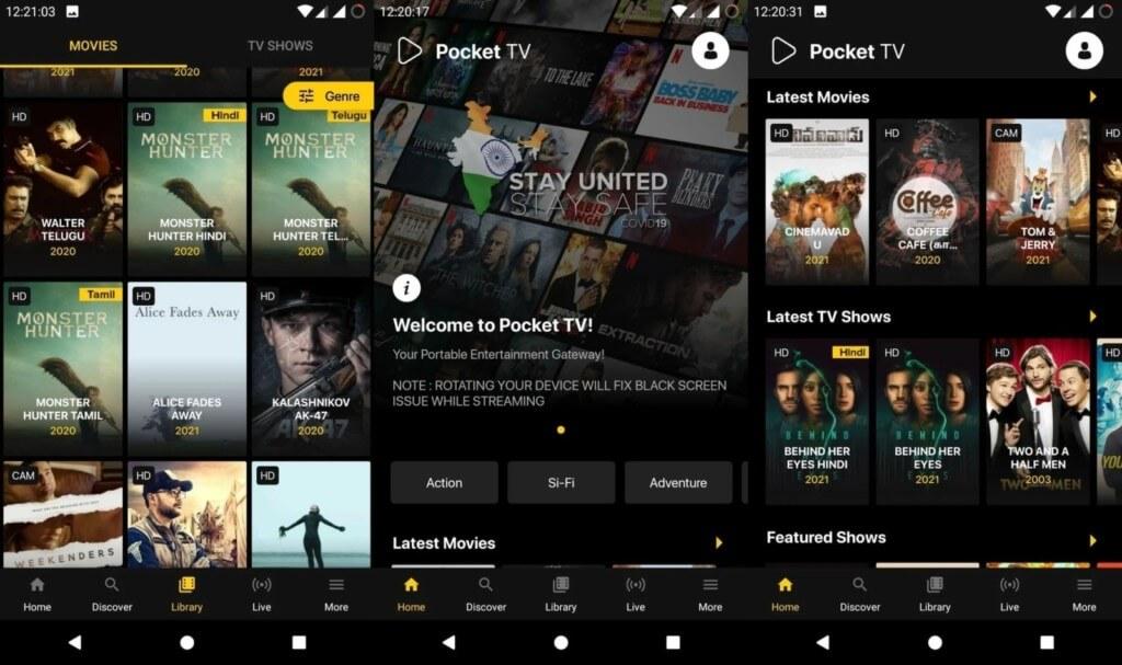 Смотрите фильмы в Pocket TV