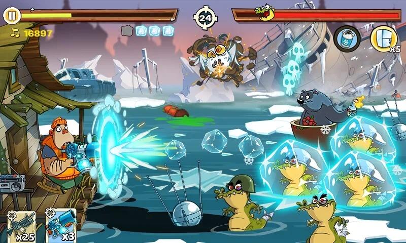 Большой арсенал оружия в Swamp Attack 2