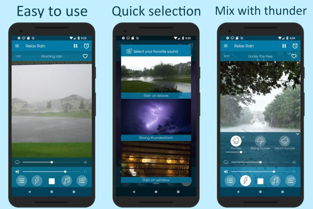 Когда лучше использовать Relax Rain /Звуки дождя на андроид?